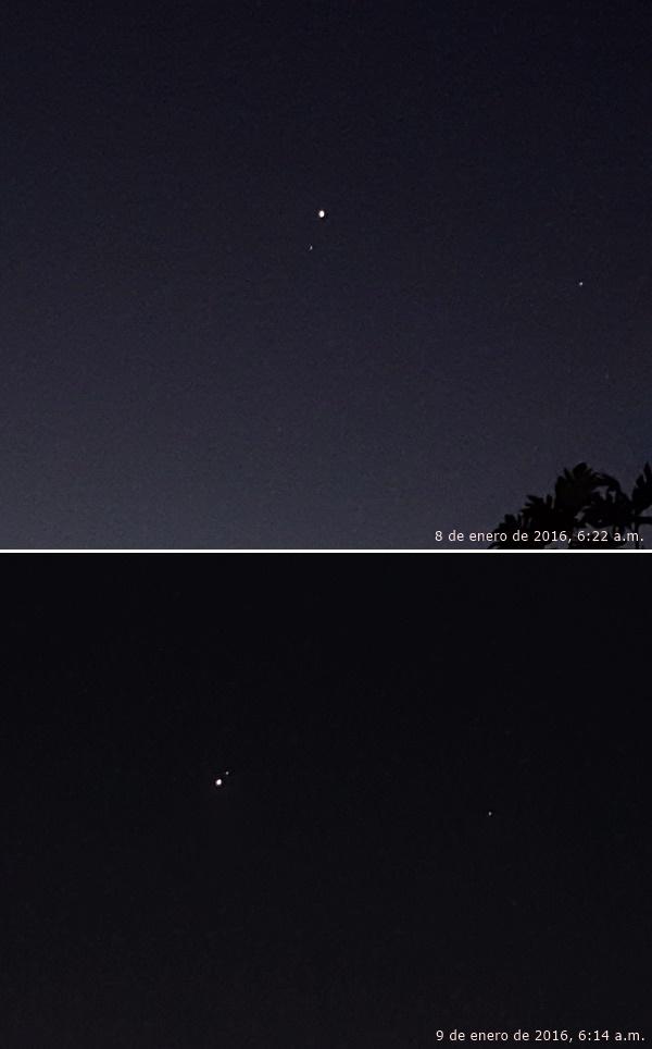 Venus y Saturno, 8 y 9 de enero de 2016