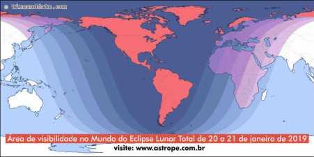 Visibilidade no Mundo do Eclipse Lunar Total de 20 a 21 de janeiro de 2019. Crédito: TimeandDate.