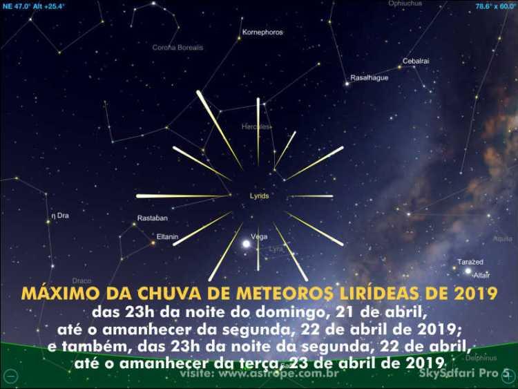 Máximo da chuva de meteoros Lirídeas de 2019 ocorrerá em 21 e 22 de abril.Crédito: SkySafari Pro 5.