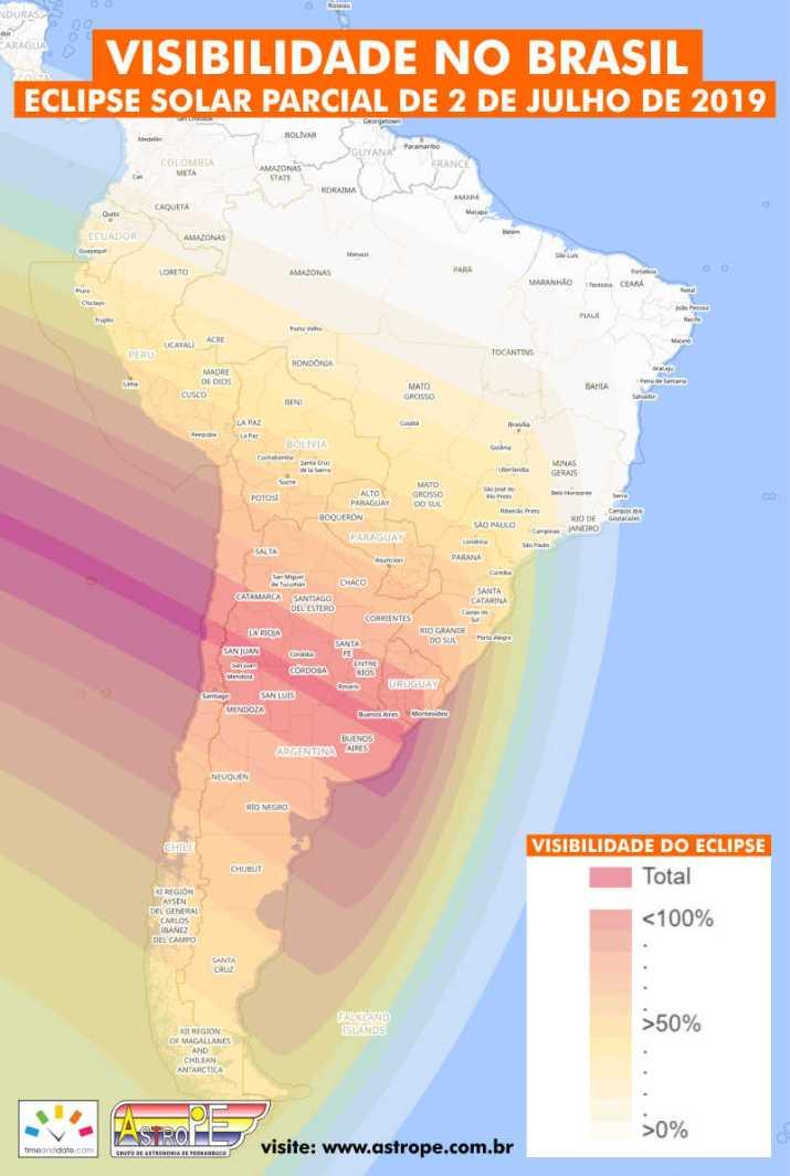Área de visibilidade no Brasil do Eclipse Solar Parcial de 2 de julho de 2019. Crédito: TimeandDate.