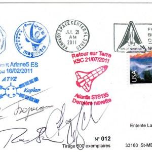 """A200 5 - Vol 200 - Enveloppe embarquée sur ATV 2 via ISS - Retour Terre le 21 Juillet 2011 par Navette """"Atlantis"""""""