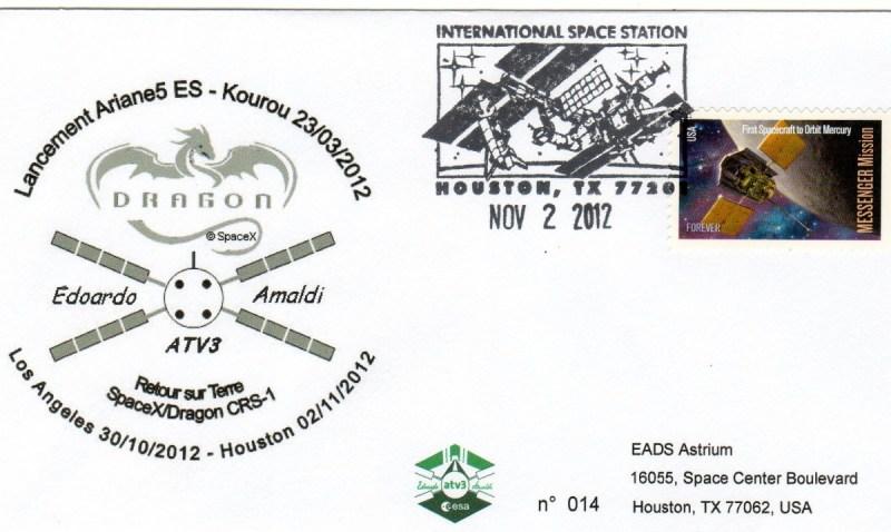 A205 4 - Vol 205 - 02 Novembre 2012 - Retour des enveloppes embarquées dans l'ATV 3 via ISS par la capsule Dragon