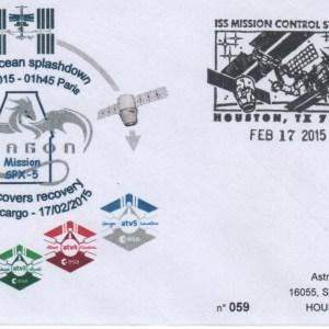 A219 7 - Vol 219 - 17 Février 2015 - Retour sur terre des enveloppes embarquées sur ATV 5 via l'ISS par capsule SpaceX-Dragon
