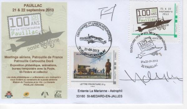 DC009 - Document - 21 Septembre 2013 - Centenaire de la première liaison Aérienne Postale Pauillac-Villacoublay