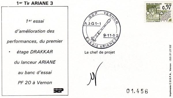 DD007 - Développement Ariane 3 - 09 Novembre 1982 - Campagne d'Essais Étage Drakkar - Essai A3G1-1