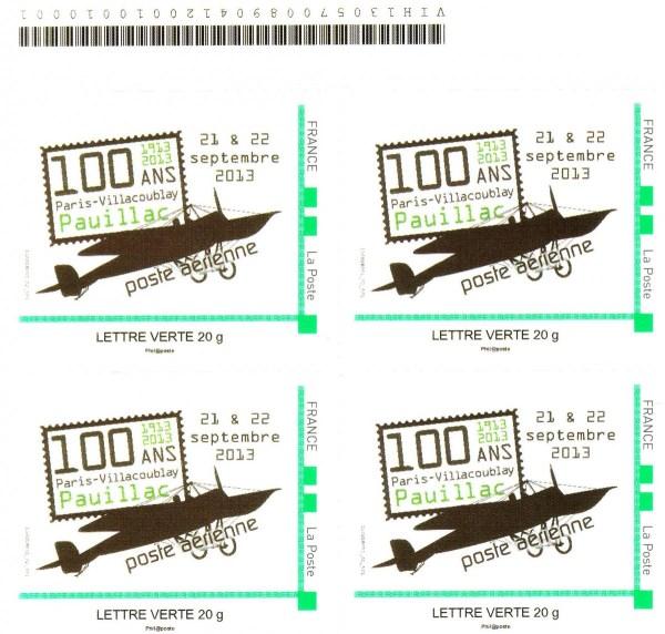 DT010 - Document - Timbre à Moi - Centenaire première liaison aérienne Vélizy-Villacoublay / Pauillac