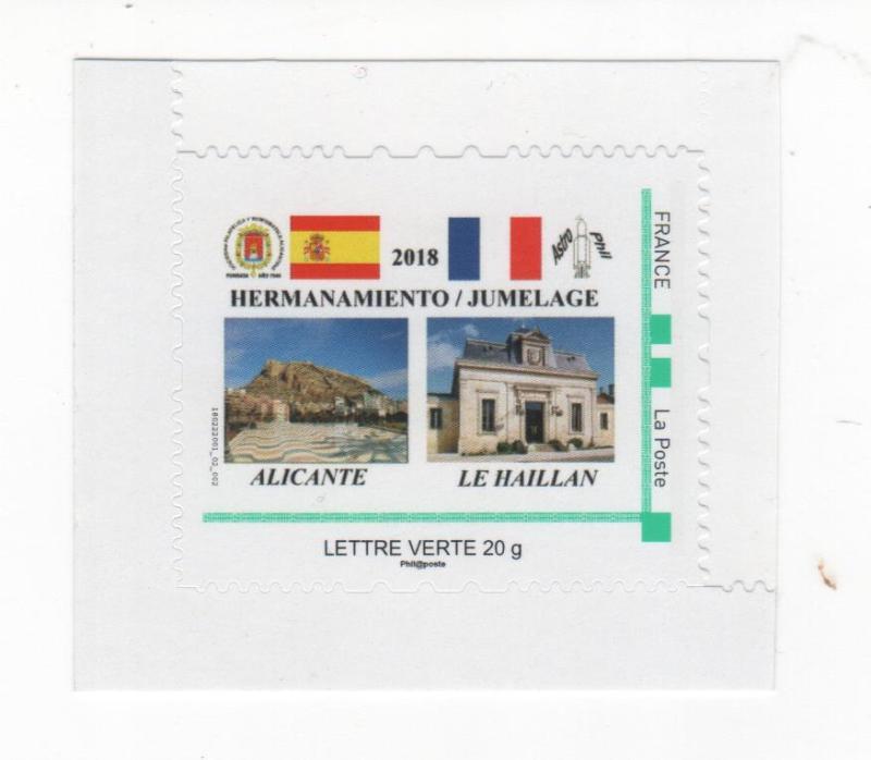 """DT011 - Divers - Timbre à Moi émis par """"Astrophil"""" pour le jumelage avec l'Association Philatélique d'Alicante (Espagne)"""