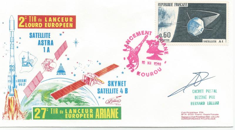 Numérisation 20191222 3 - Kourou (Guyane) Lancement Ariane 4 - 44LP – Vol 27 - 10 Décembre 1988 (Enveloppe Club ESA - Lollini)