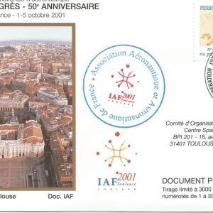 Numérisation 20191222 6 - IAF ( Fédération Internationale d'Astronautique) 52ème congrès - 50ème Anniversaire Toulouse 1 au 5 Octobre 2001