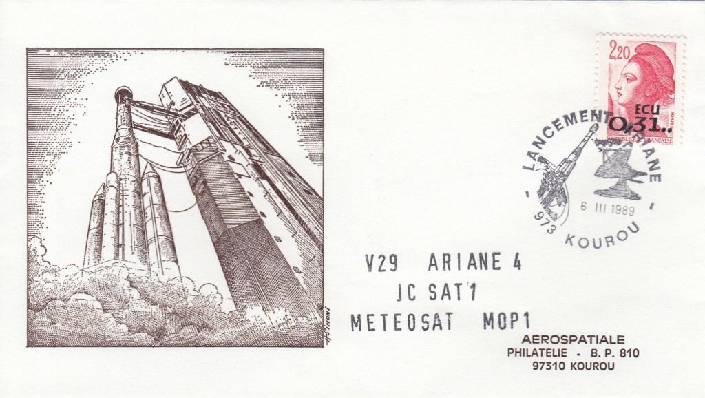 V29 Ariane4 Mop 1 - Kourou - lancement Ariane 4 - 44LP - Vol 29 - 06 Mars 1989