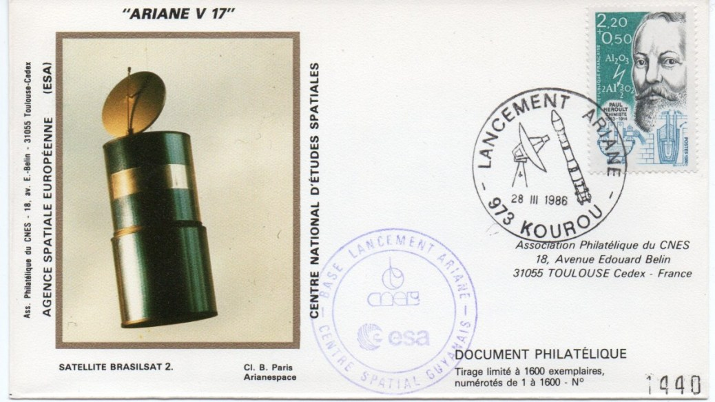 img20191207 16505679 - Kourou (Guyane) Lancement Ariane 3 – Vol 17 – 28 Mars 1986 (Pochette CNES)
