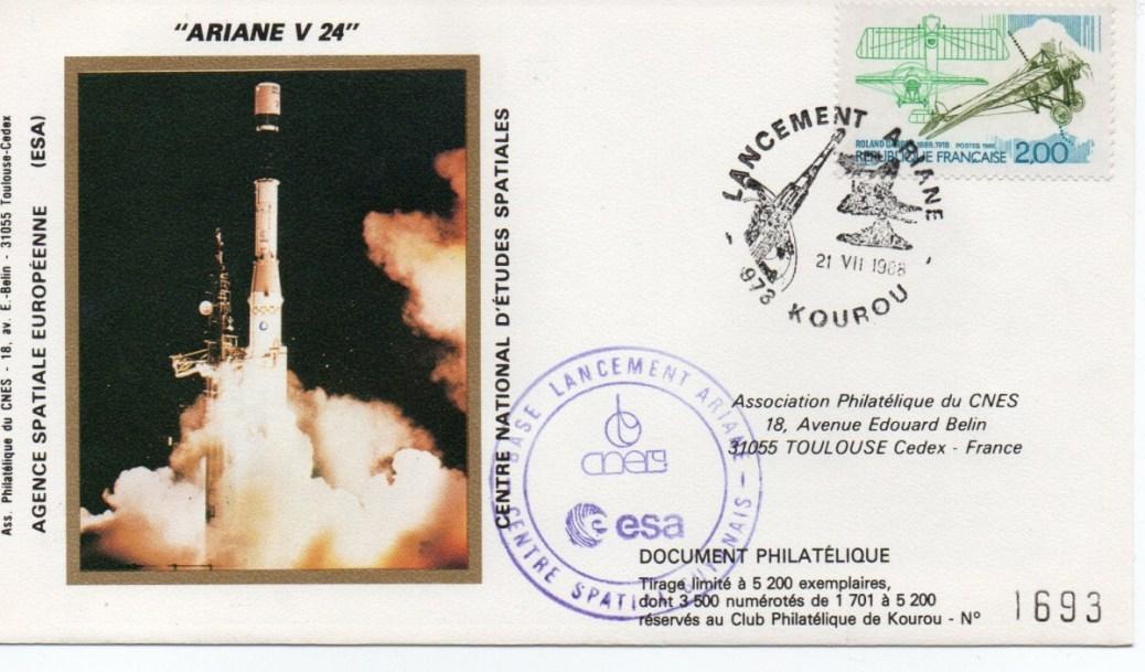 img20191216 14363175 - Kourou (Guyane) Lancement Ariane 3 – Vol 24 - 21 Juillet 1988 (3 Enveloppes CNES)