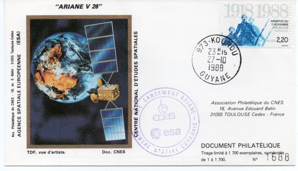 img20191216 14373292 - Kourou (Guyane) Lancement Ariane 2 – Vol 26 - 27 Octobre 1988 - Enveloppe CNES