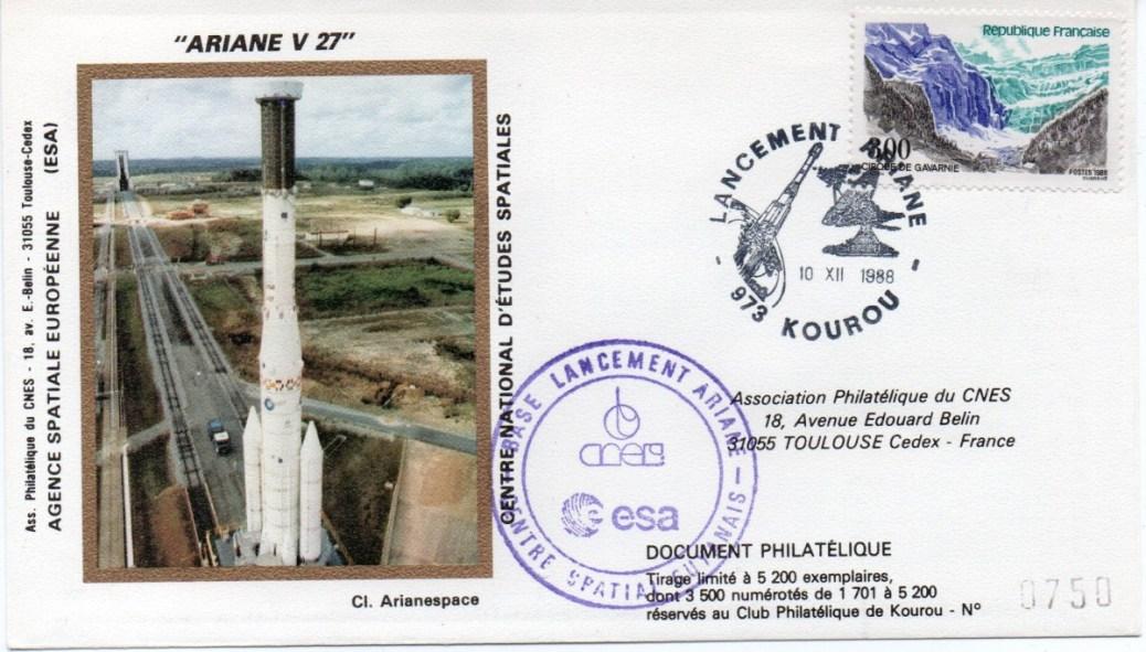 img20191216 14383184 - Kourou (Guyane) Lancement Ariane 4 - 44LP – Vol 27 - 10 Décembre 1988 (3 Enveloppes  CNES )