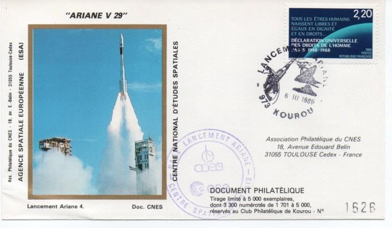 img20191216 14402377 - Kourou (Guyane) Lancement Ariane 4 - 44LP – Vol 29 - 06 Mars 1989 (3 Enveloppes  CNES )