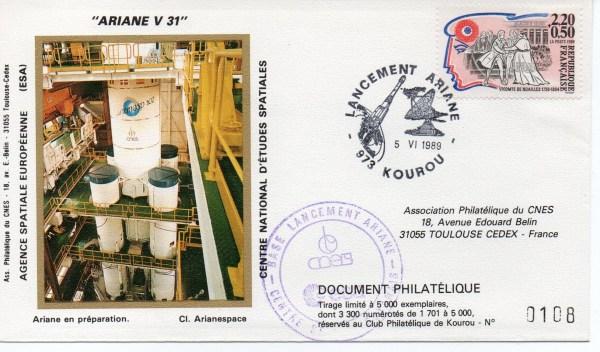 img20191216 14412644 - Kourou (Guyane) Lancement Ariane 4 - 44L – Vol 31 - 05 Juin 1989 (3 Enveloppes  CNES )