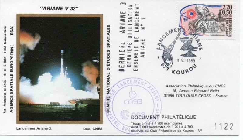 img20191216 14422422 - Kourou (Guyane) Lancement Ariane 3 – Vol 32 - 11 Juillet 1989 (2 Enveloppes  CNES )