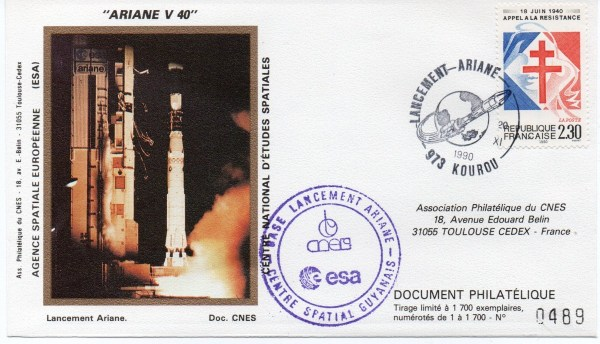 img20191216 14472209 - Kourou (Guyane) Lancement Ariane 4 - 42P – Vol 40 - 20 Novembre 1990 (3 Enveloppes  CNES )