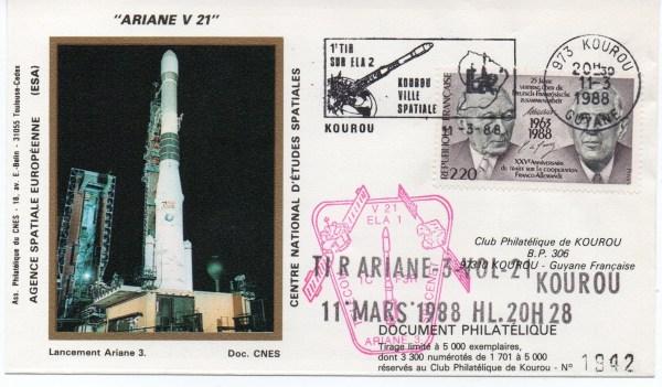 img20191219 16530263 - Kourou (Guyane) Lancement Ariane 3 – Vol 21 - 11 Mars 1988 (1 Enveloppes  CNES )