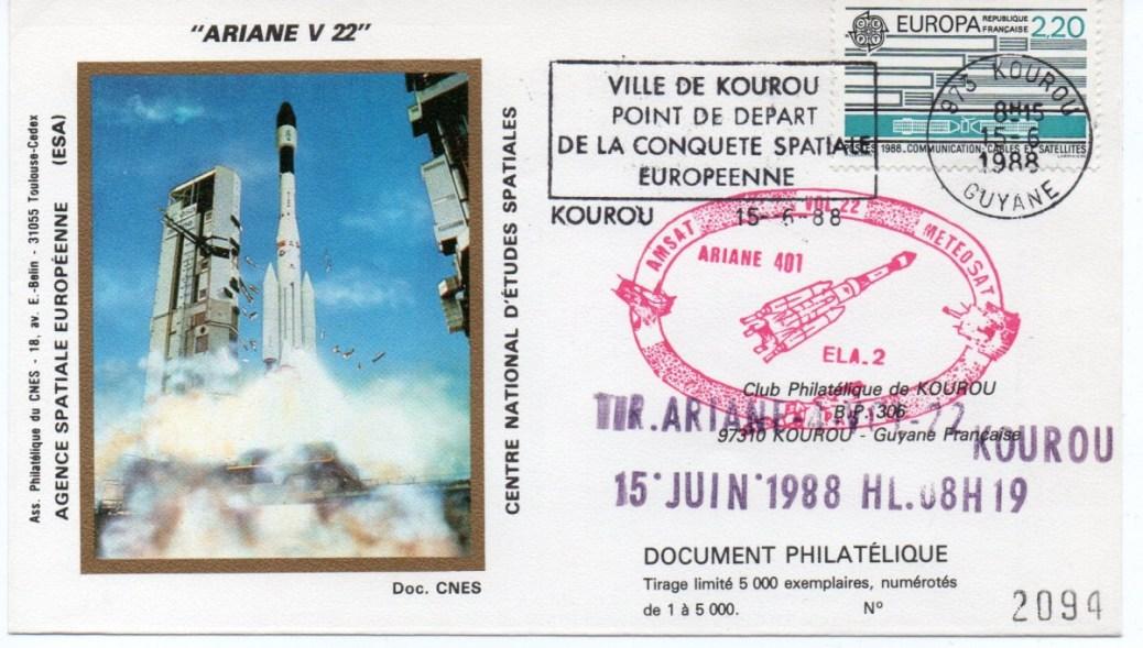 img20191219 16535716 - Kourou (Guyane) Lancement Ariane 4 - 44LP – Vol 22 - 15 Juin 1988 (1 Enveloppes  CNES )