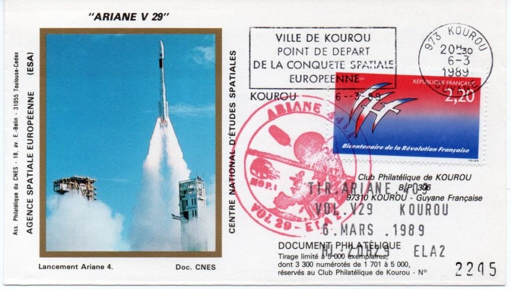 img20191219 16545840 - Kourou (Guyane) Lancement Ariane 4 - 44LP  – Vol 29 - 06 Mars 1989 (1 Enveloppes  CNES )