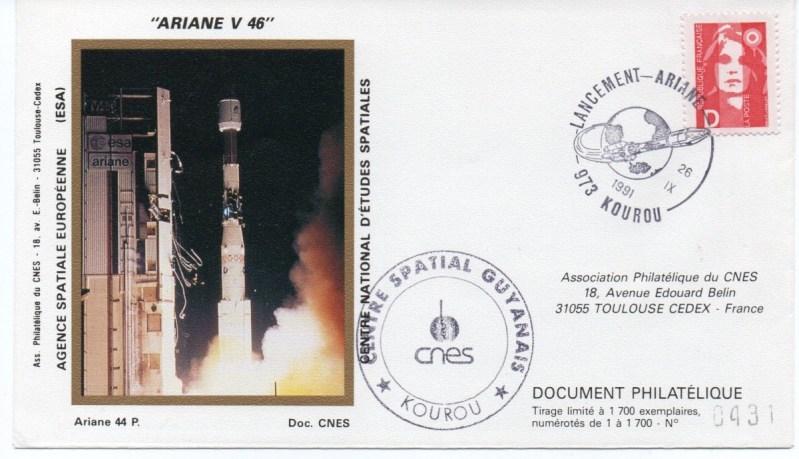 img20191219 17012832 - Kourou (Guyane) Lancement Ariane 4 - 44P – Vol 46 - 26 Septembre 1991 (2 Enveloppes  CNES )