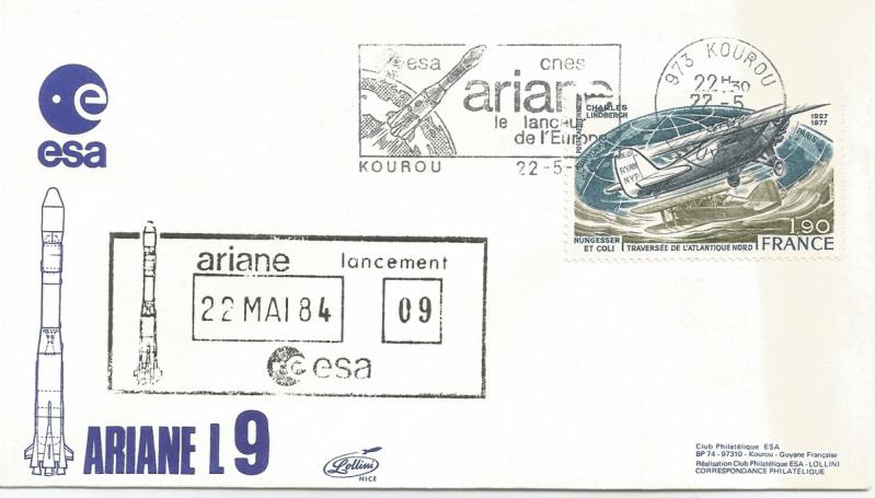 Numérisation 20191222 28 - Kourou (Guyane) Lancement Ariane 1 – Vol 9 - 22 Mai 1984 (Enveloppe Club ESA - Lollini)