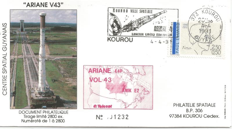 Numérisation 20191222 55 - Kourou (Guyane) Lancement Ariane 4 - 44P – Vol 43 - 04 Avril 1991 (Enveloppe Club Phila de Kourou) - C5