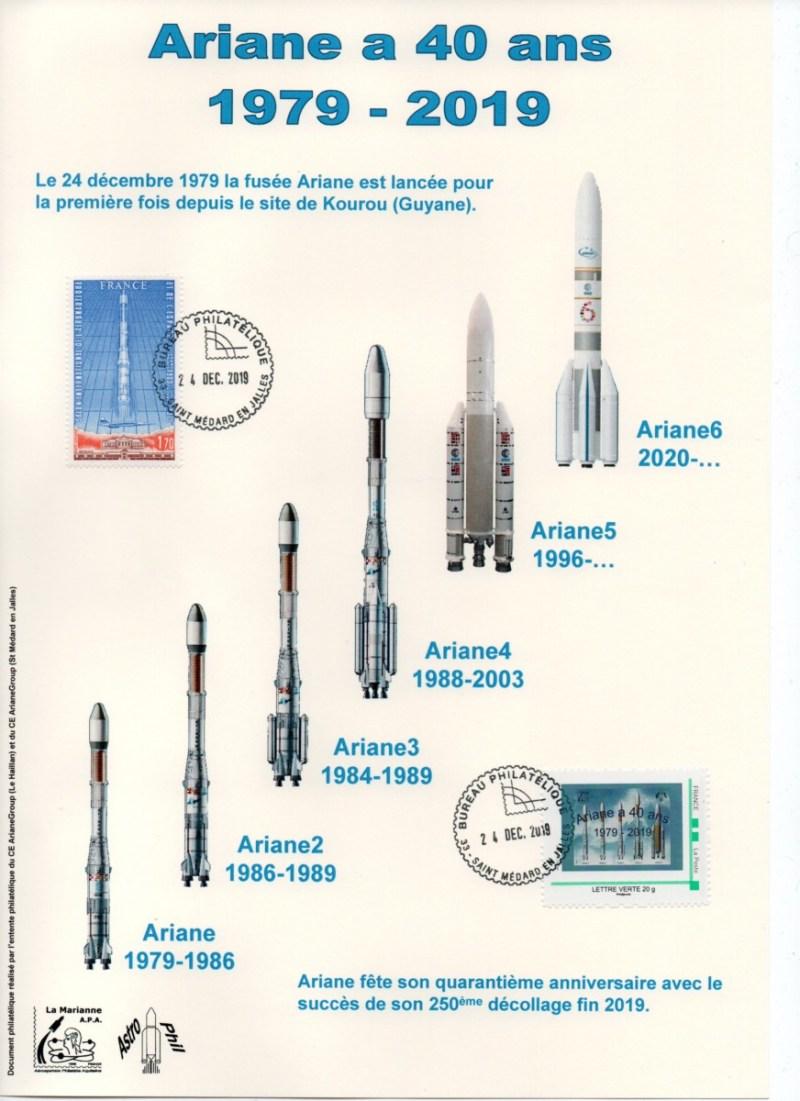 img20200212 18251007 - 40ème Anniversaire du premier lancement d'Ariane - Encart émis à Saint médard en Jalles avec oblitération du 24 Décembre 2019.