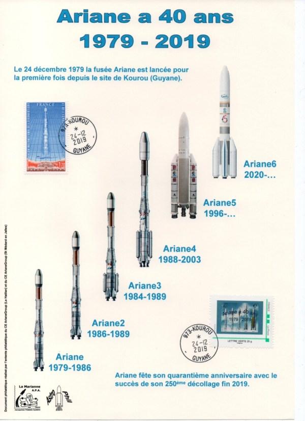 img20200212 19195069 - 40ème anniversaire du premier lancement d'Ariane - Oblitération Kourou 24 Décembre 2019.