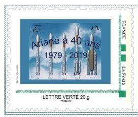 timbre ariane e1582655378987 - Timbre à Moi émis à l'occasion du 40ème anniversaire du premier lancement d'Ariane.