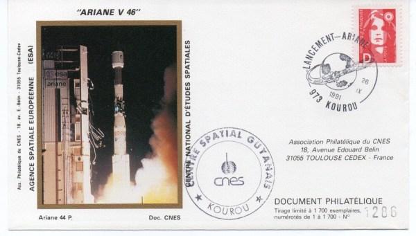 img20200426 18080091 - Kourou (Guyane) Lancement Ariane 4 - 44P – Vol 46 - 26 Septembre 1991 (Enveloppe Club Phila du CNES)