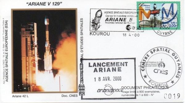 img20200426 18173386 - Kourou (Guyane) Lancement Ariane 4 - 42L – Vol 129 - 18 Avril 2000 (Enveloppes Club Phila du CNES)