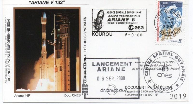 img20200426 18192333 - Kourou (Guyane) Lancement Ariane 4 - 44P – Vol 132 - 06 Septembre 2000 (Enveloppes Club Phila du CNES) - C7