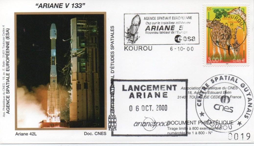 img20200426 18202010 - Kourou (Guyane) Lancement Ariane 4 - 42L – Vol 133 - 06 Octobre 2000 (Enveloppes Club Phila du CNES)