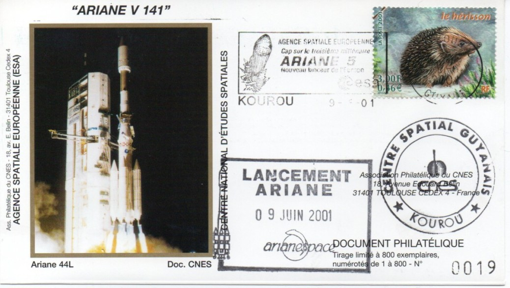 img20200427 18042299 - Kourou (Guyane) Lancement Ariane 4 - 44L – Vol 141 - 09 Juin 2001 (Enveloppes Club Phila du CNES)