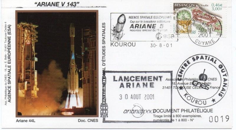 img20200427 18051784 - Kourou (Guyane) Lancement Ariane 4 - 44L – Vol 143 - 30 Aout 2001 (Enveloppes Club Phila du CNES)