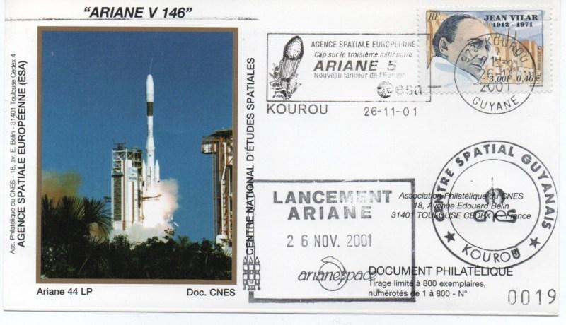 img20200427 18072418 - Kourou (Guyane) Lancement Ariane 4 - 44LP – Vol 146 - 26 Novembre 2001 (Enveloppes Club Phila du CNES)