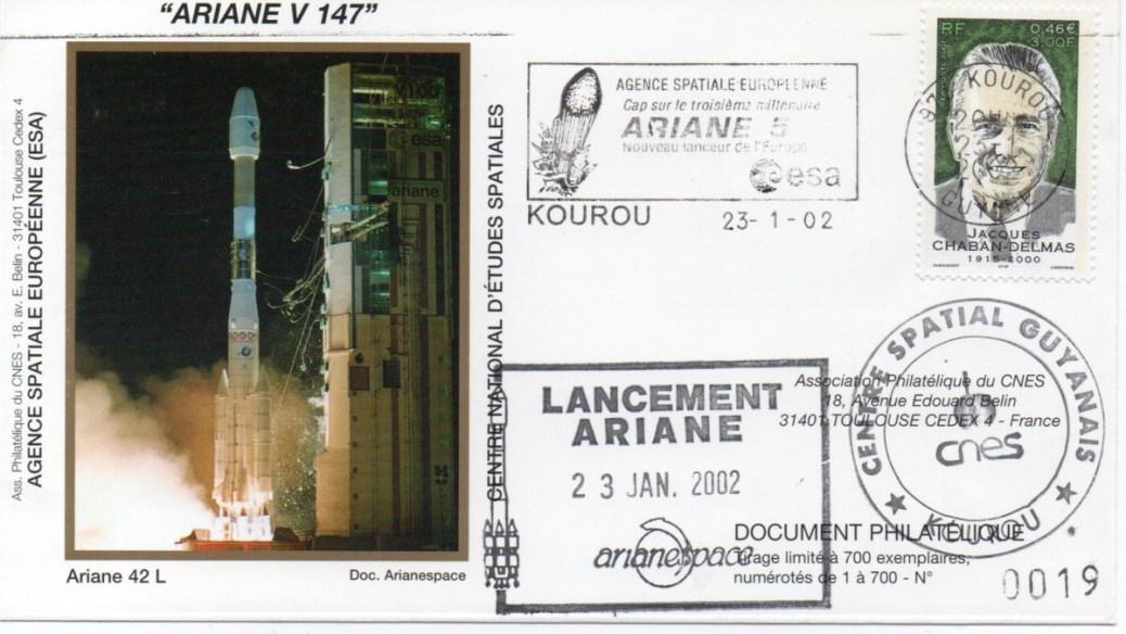 img20200427 18082068 - Kourou (Guyane) Lancement Ariane 4 - 42L – Vol 147 - 23 Janvier 2002 (Enveloppes Club Phila du CNES)