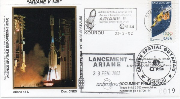 img20200427 18092296 - Kourou (Guyane) Lancement Ariane 4 - 44L – Vol 148 - 23 Février 2002 (Enveloppes Club Phila du CNES)
