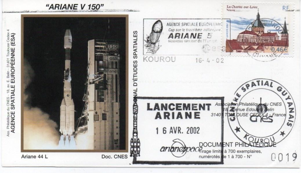 img20200427 18114390 - Kourou (Guyane) Lancement Ariane 4 - 44L – Vol 150 - 16 avril 2002 (Enveloppes Club Phila du CNES)