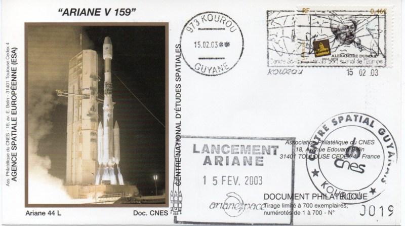 img20200427 18170984 - Kourou (Guyane) Lancement Ariane 4 - 44L – Vol 159 - 15 Février 2003 (Enveloppes Club Phila du CNES)
