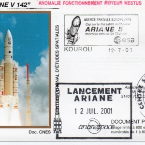 img20200428 17313002 - Kourou (Guyane) Lancement Ariane 5 G – Vol 142 - 12 Juillet 2001 (Enveloppes Club Phila du CNES)