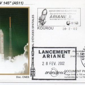 img20200428 17322669 - Kourou (Guyane) Lancement Ariane 5 G – Vol 145 - 28 Février 2002 (Enveloppes Club Phila du CNES)
