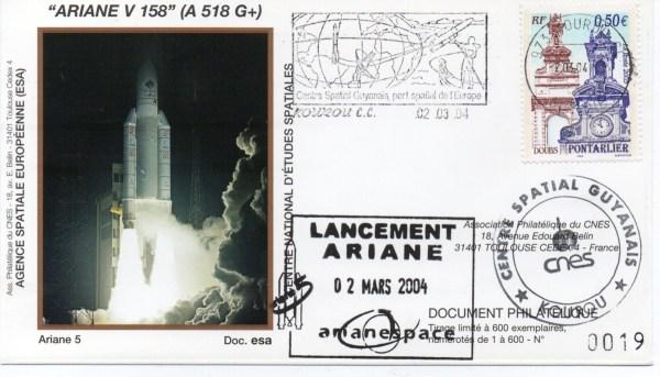 img20200428 17360864 - Kourou (Guyane) Lancement Ariane 5 G+ – Vol 158 - 02 Mars 2004 (Enveloppes Club Phila du CNES)