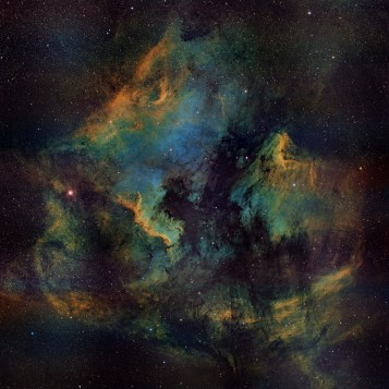 The North America and Pelican Nebulas in Cygnus (NGC7000, IC5070) - SII H-alpha OIII mosaic by Joe Gagnon