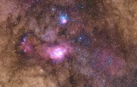 Show at the top, we see M20, the Trifid Nebula in blue and Red/Pink. The large and bright Red/Pink/Magenta nebula below it, is M8, the Lagoon Nebula.
