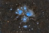 """M45 - The Pleiades by Syed Taha """"The Pleiades, also known as the Seven Sisters and Messier 45, is an open star cluster containing middle-aged, hot B-type stars in the north-west of the constellation Taurus. It is among the star clusters nearest to Earth, it is the nearest Messier object to Earth, and is the cluster most obvious to the naked eye in the night sky. The cluster is dominated by hot blue and luminous stars that have formed within the last 100 million years. Reflection nebulae around the brightest stars were once thought to be left over material from their formation, but are now considered likely to be an unrelated dust cloud in the interstellar medium through which the stars are currently passing. The Pleiades were the seven daughters of the titan Atlas and the sea-nymph Pleione born on Mount Cyllene. They were the sisters of Calypso, Hyas, the Hyades, and the Hesperides. Together with the seven Hyades, they were called the Atlantides, Dodonides, or Nysiades, nursemaids and teachers to the infant Dionysus. They were thought to have been translated to the night sky as a cluster of stars, the Pleiades, and were associated with rain. They were named Maia, Electra, Taygete, Alcyone, Celaeno, Sterope and Merope. The loss of one of the sisters, Merope, in some myths may reflect an astronomical event wherein one of the stars in the Pleiades star cluster disappeared from view by the naked eye."""" Equipment: Takahashi FSQ85-EDX Takahashi EDP Flattener 1.01X for FSQ-85EDX QHY268M QHYCFW3-M-US Chroma LRGB filters Pegasus Falcon Rotator Esatto 3"""" Robotic Microfocuser Tecnosky 70 mm Guidescope & Lodestar X2 Avalon M-Uno Pegasus Ultimate Powerbox Intel NUC Mini PC Acquisition (all @ Gain 0 & Offset 30 in High Gain Mode): L: 125 x 180s = 375 min = 6h15min R: 42 x 180s = 126 min = 2h3min G: 29 x 180s = 87 min = 1h27min B: 39 x 180s = 117 min = 1h57min Taken from my backyard - Bortle 5, SQM 19.75 mag/arcsec^2"""