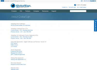 GlobalSign security certificate Issuer