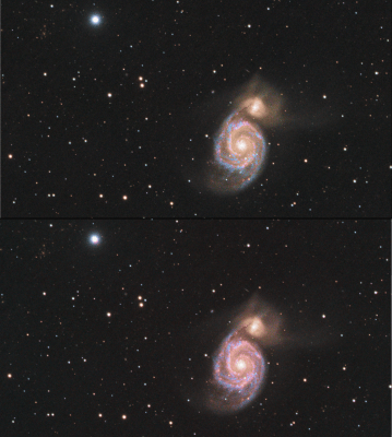 RGB versus HaRGB star colors maintained